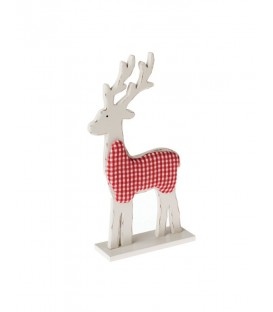 Wooden Deer with Fabric.Standing Ornament.Red & White.31cmL.