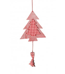 Wooden Tree with Fabric. Hanging Ornament. Red & White. Large: 31cmL.