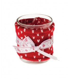 Glass Candle Holder with Knitted Cover. Red & White. 8cmH.