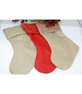 Burlap Stocking with Glitter - 55cm