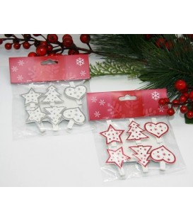 Christmas Pegs - Hearts & Stars - Pack of 6 - Red or Silver