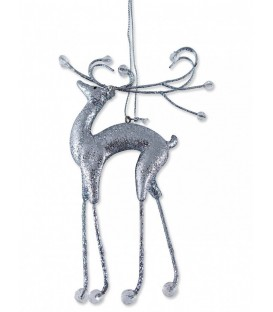 Silver Reindeer Hanging Ornament - 14cmH