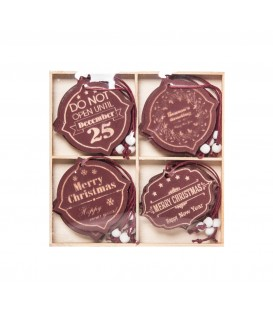 Hanging Decos Red assorted designs Wooden  5cm