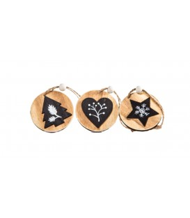 Hanging Decos  Round with Black Motif - Tree Heart Star Wooden 5cm Boxed Set 3