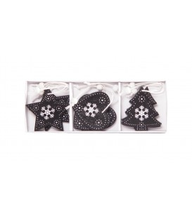 Hanging Decos Black Tree Star Heart  Wooden   6.5cm Boxed Set 9