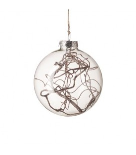Bauble Glass Clear  w Twig Ornament 4inc/10cm