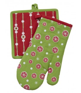 Pot Holder & Glove Set Rd/Gr Bauble Design
