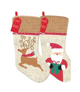STOCKING HESSIAN REDEEER/SANTA 550H