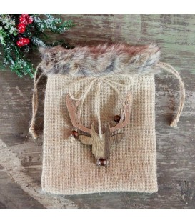 BAG HESSIAN W/FUR  15X20CM