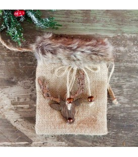 BAG HESSIAN W/FUR  12X17CM