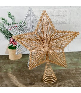 STAR TREE TOPPER GLITTER 20CM
