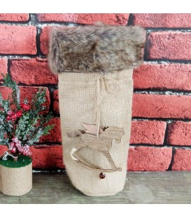 BOTTLE BAG HESIAN N W/FUR 10X30CM O