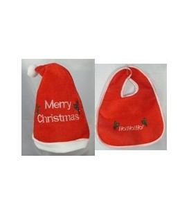 Apparel - Babies 'Merry Christmas' Santa Hat & 'Ho Ho Ho' Bib