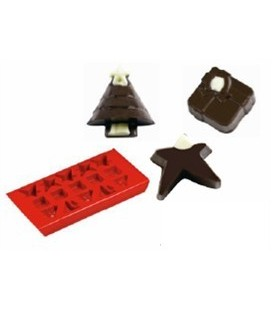 Chocolate Mould & Ice Tray - Christmas Shapes.Red. 22cm x 11cm.