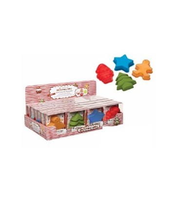 Silicone Christmas Moulds - Mini.Assorted Designs:Tree/Star/Santa/Gingerbread Man.Set/2.