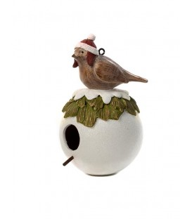 Bird with Santa Hat - Sitting on Nest.Hanging Ornament.Resin.22.9cmH.