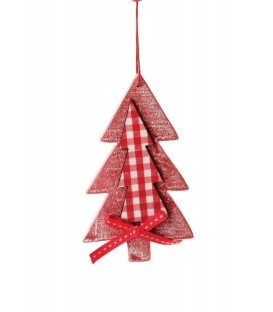Wooden Tree with Fabric.Hanging Ornament.Red & White.Small: 12cmL.